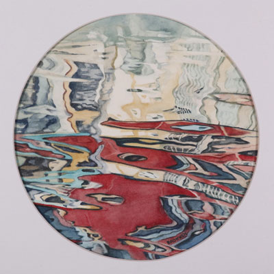 Bronwen Schalkwyk's RIPPLE OF LIGHT 1 - 175mm diameter watercolour by Bronwen Schalkwyk