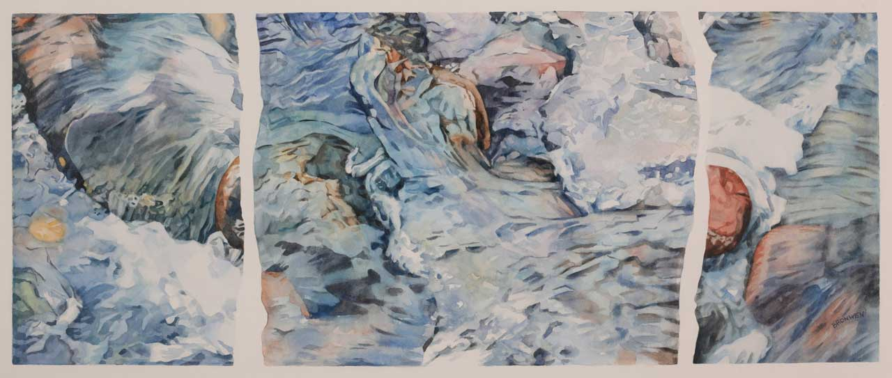Bronwen Schalkwyk's SPIRIT OF THE STREAM - 685mm x 275mm watercolour by Bronwen Schalkwyk
