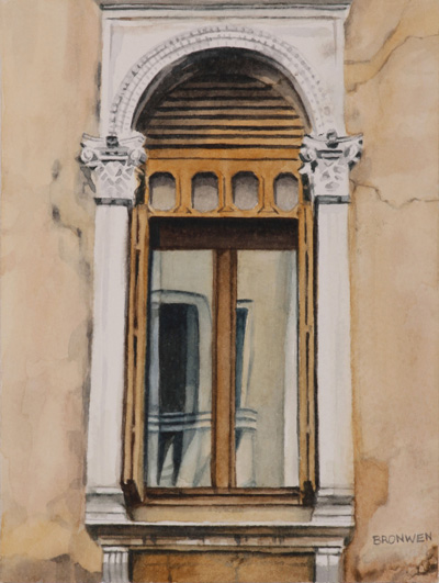 Bronwen Schalkwyk's WINDOWS IN TIME 2 - 140mmx185mm watercolour by Bronwen Schalkwyk