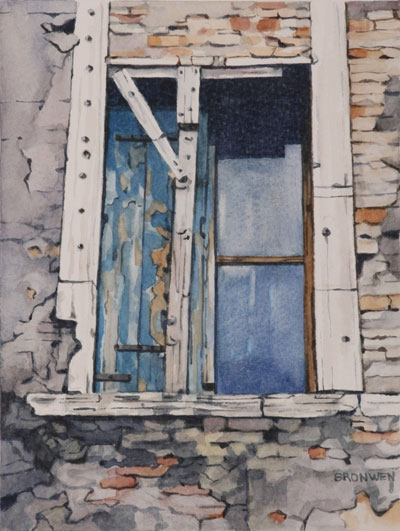 Bronwen Schalkwyk's WINDOWS IN TIME 3 - 140mmx185mm watercolour by Bronwen Schalkwyk