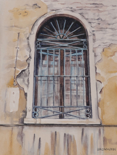 Bronwen Schalkwyk's WINDOWS IN TIME 4 - 140mmx185mm watercolour by Bronwen Schalkwyk