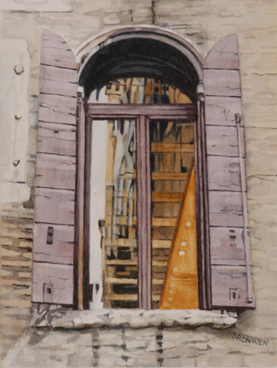 Bronwen Schalkwyk's WINDOWS IN TIME 5 - 140mmx185mm watercolour by Bronwen Schalkwyk