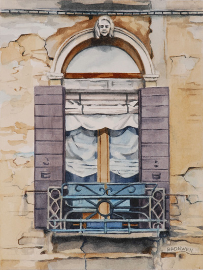 Bronwen Schalkwyk's WINDOWS IN TIME 7 - 140mmx185mm watercolour by Bronwen Schalkwyk